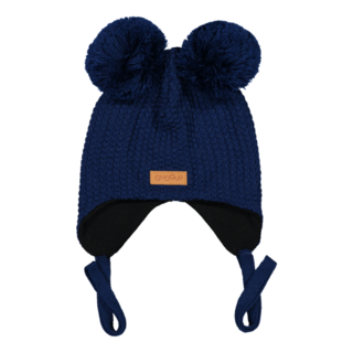 Gugguu AW18 Double Tuft Hat With Ear Flaps Night Blue