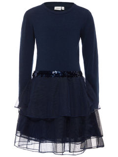 Name It Nitpalukka Ls Knit Dress Mini Dress Blues