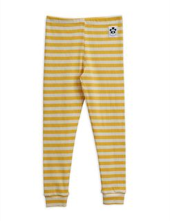 Mini Rodini SS20 Strpe Rib Leggings Yellow