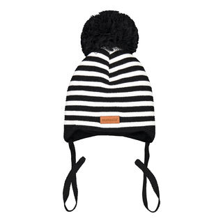 Metsola SS20 Cotton Knitted Baby Beanie Striped 1 Pom Pom Black