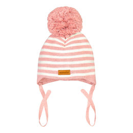 Metsola SS20 Cotton Knitted Baby Beanie Striped 1 Pom Pom Powder Puff