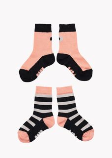 Papu SS20 Socks 2-pack Multicolor Cantaloupe/Black/Grey