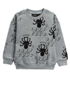 Mini Rodini AW20 Octopus Top Sweatshirt Grey Melange