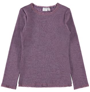 Name It Nkfwang Wool Needle Ls Top Noos Black Plum