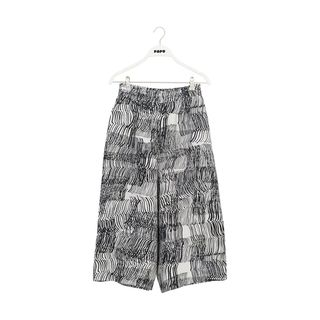 Papu SS20 Linen Culottes Housut Adult Sound Waves White/Black