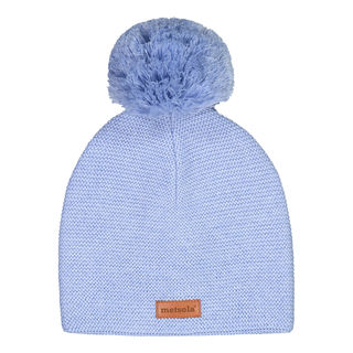 Metsola AW19 Knitted Classic Beanie 1 Pom Pom Cool Blue