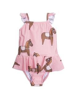 Mini Rodini SS18 Horse Skirt Swimsuit Pink