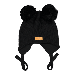 Gugguu AW18 Double Tuft Hat With Ear Flaps Black