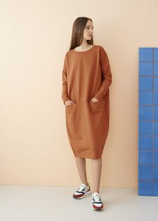 Papu SS20 Giant Split Dress Sugar Brown