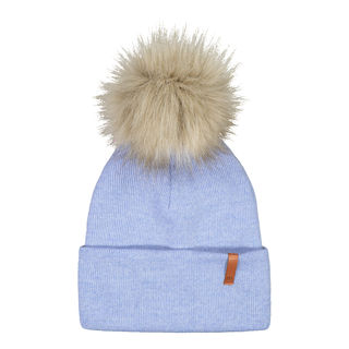 Metsola AW19 Knitted Rib Beanie Fur Cool Blue