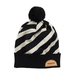 Papu SS20 Stripe Beanie Kid Black Silent Grey