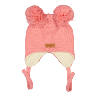 Gugguu AW18 Double Tuft Hat With Ear Flaps Soft Coral