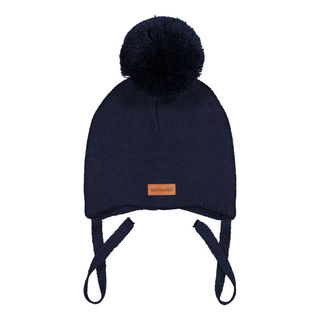 Metsola SS20 Cotton Knitted Baby Beanie 1 Pom Pom Black
