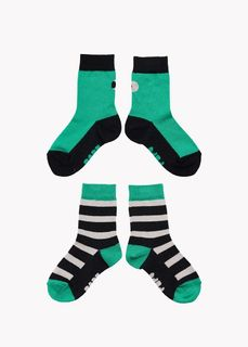 Papu SS20 Socks 2-pack Multicolor Green/Black Grey