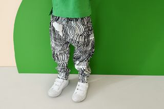 Papu SS20 Summer Pants Kid Sound Waves Linen White/Black