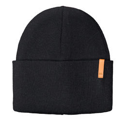 Metsola SS20 Cotton Knitted Rib Beanie Folded Black
