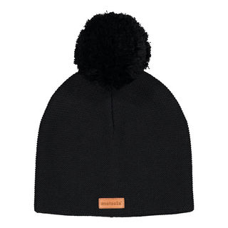 Metsola SS20 Cotton Knitted Classic Beanie 1 Pom Pom Black