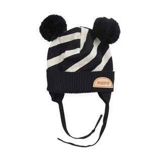 Papu SS20 Stripe Baby Beanie Kid Black Silent Grey