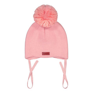 Metsola SS20 Cotton Knitted Baby Beanie 1 Pom Pom Marshamallow