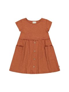 Mainio SS20 Button Dress Slub Bombay Brown
