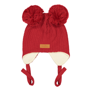 Gugguu AW18 Double Tuft Hat With Ear Flaps Salsa