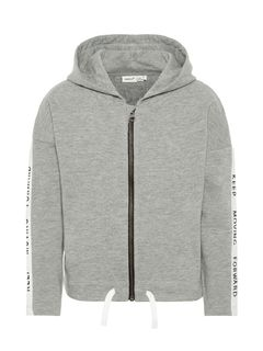 Name It Nkftina LS Sweat Card WH Bru Grey Melange Huppari