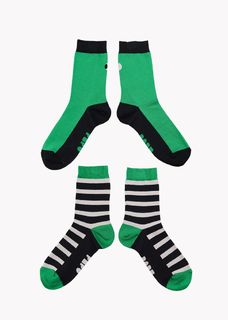 Papu SS20 Adults Socks 2-pack Multicolor Green Black Grey
