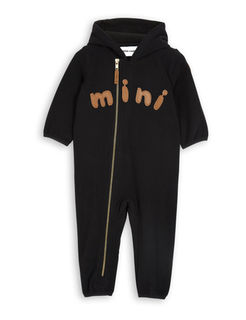 Mini Rodini AW18 Fleece Onesie Black -Haalari