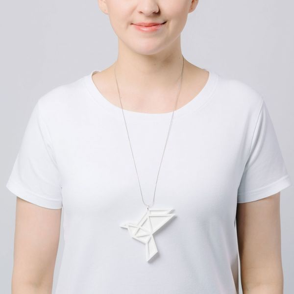 Yo Zen Dove Big Pendant White/White