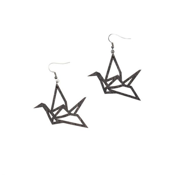 Yo zen Swan Mini Earrings Black Wood