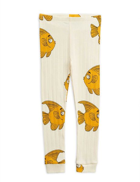 Mini Rodini AW20 Fish Aop Leggings Offwhite