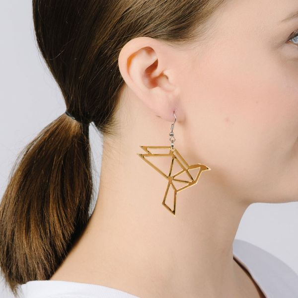 Yo zen Dove Earrings Gold Mirror