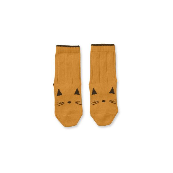 Liewood Silas Cotton Socks 2Pack Cat Mustard