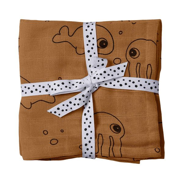 Done By Deer Burp Cloth 2-pack Sea Friends/ Mustard
