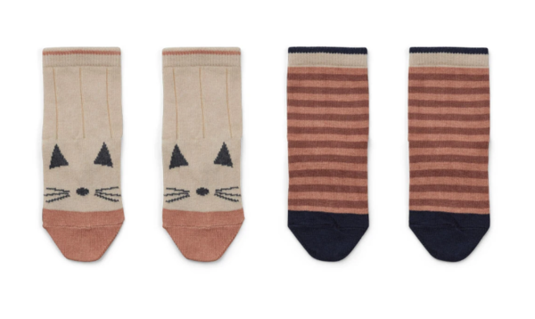 Liewood Silas Cotton Socks 2 Pack Cat/Stripe Coral Blush
