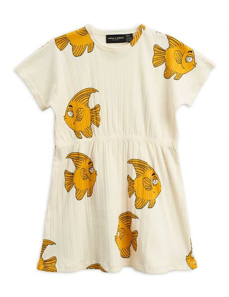 Mini Rodini AW20 Fish SS Dress Offwhite