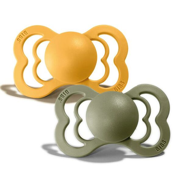 BIBS Tutti Supreme 2 Pack Silicone Size 2, Honey Bee/Olive