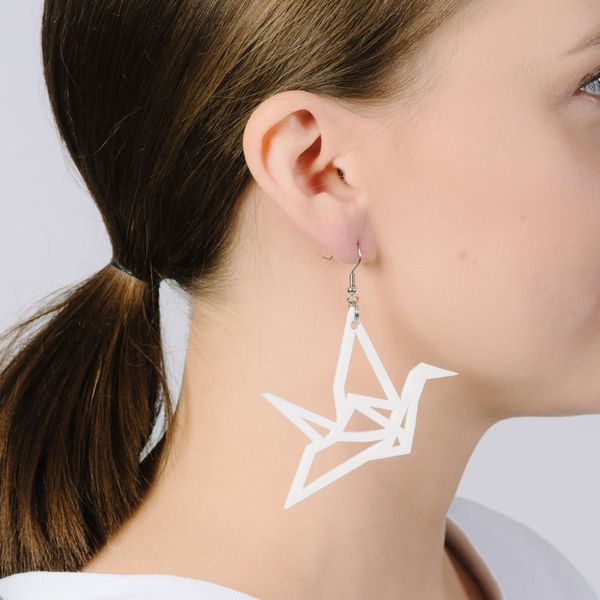 Yo Zen Swan Earrings White