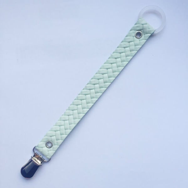 For Minis And Mommies Pacifier Clip Braids Mint
