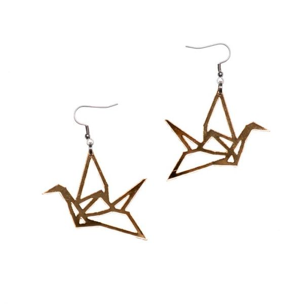 Yo zen Swan Earrings Gold Mirror