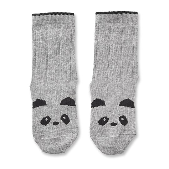 Liewood Silas Cotton Socks 2 Pack Panda Grey Melange