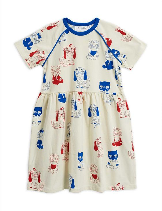 Mini Rodini SS20 Minibaby Aop SS Dress Offwhite