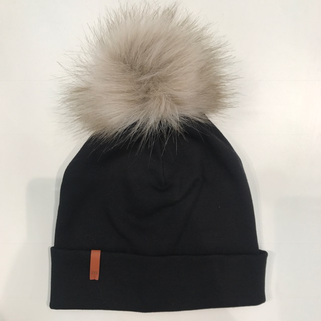 Metsola AW19 Rib Beanie With Fur Pom Black