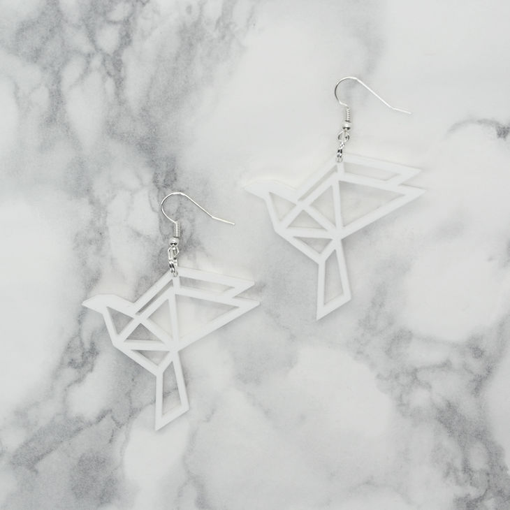 Yo Zen Dove Earrings White
