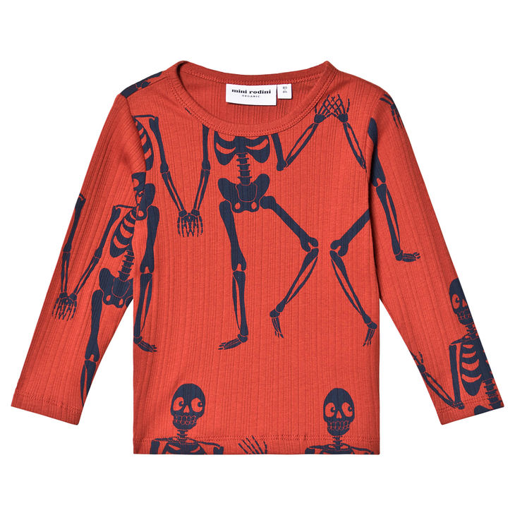 Mini Rodini AW19 Skeleton Aop Ls Tee Red