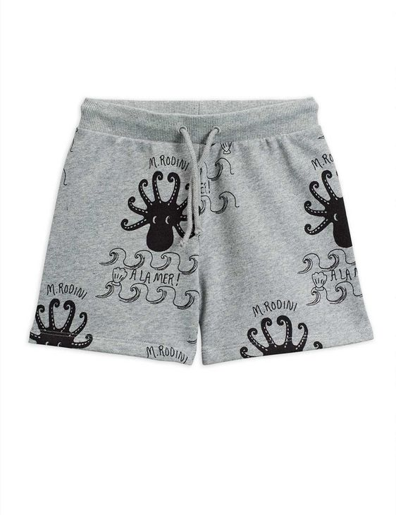 Mini Rodini AW20 Octopus Top Sweatshorts Grey Melange