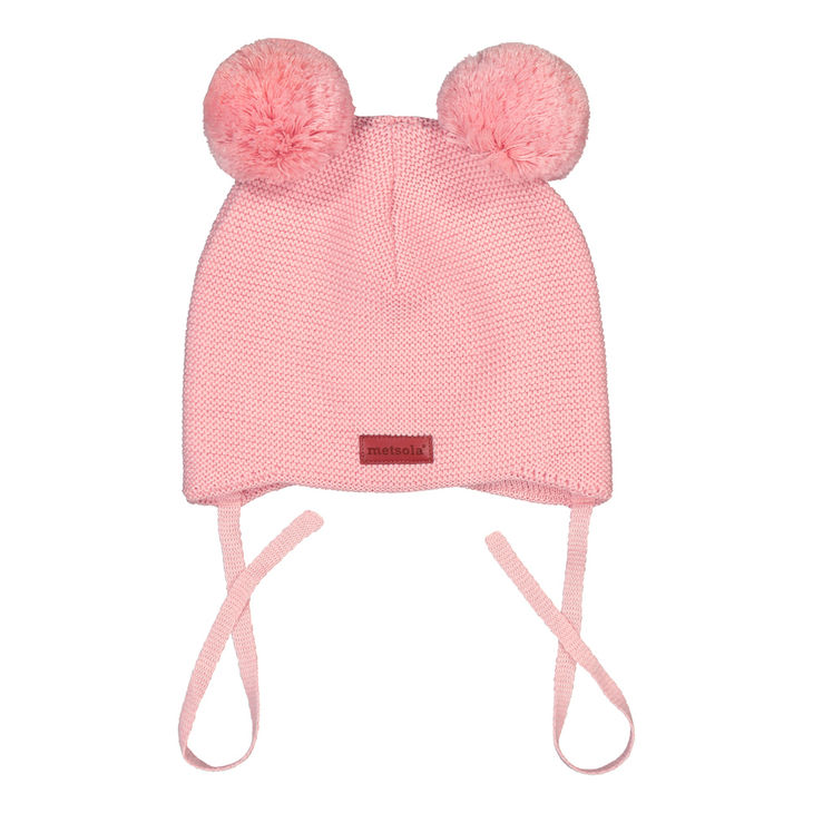 Metsola SS20 Cotton Knitted Baby Beanie 2 Pom Pom Marshamallow