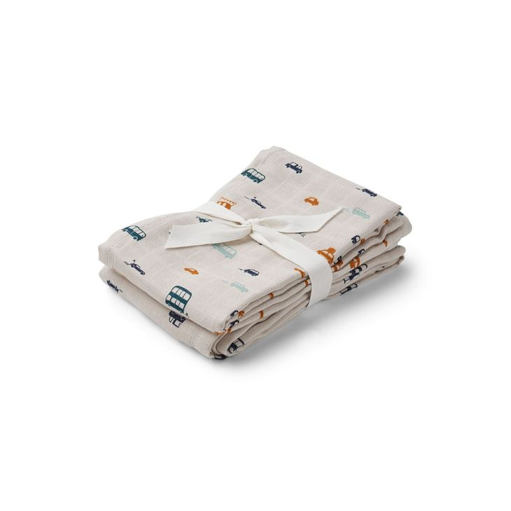 Liewood Hannah Muslin Cloth Print 2 Pack Cars