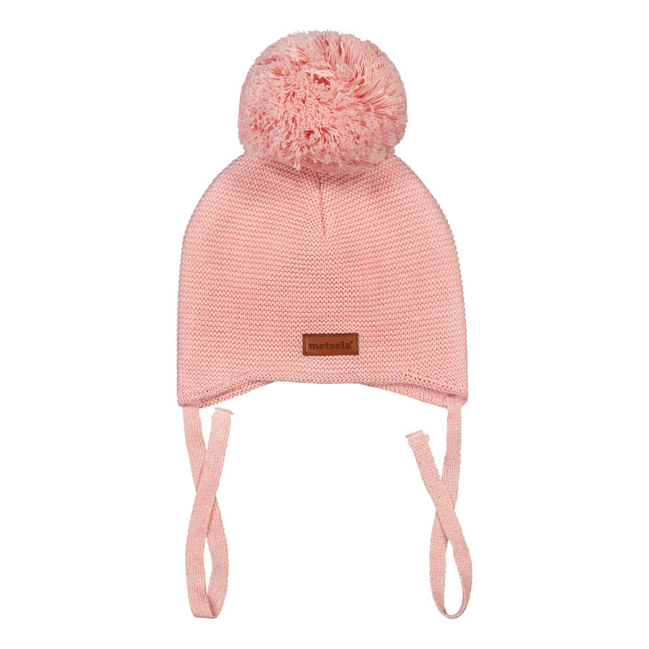 Metsola SS20 Cotton Knitted Baby Beanie 1 Pom Pom Powder Puff
