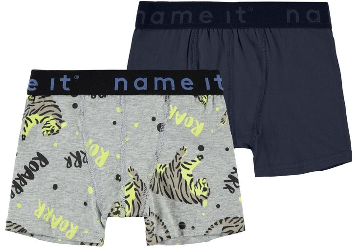 Name It Nmmboxer 2P Grey Mel Aop Glow Noos Grey Melange